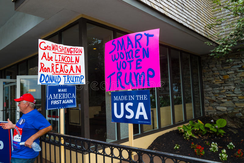 Homemade Signs at Pence Political Rally. Lancaster, PA - August 9, 2016: Signs at a rally during GOP Vice Presidential candidate Gov. Mike Pence appearance in stock photos
