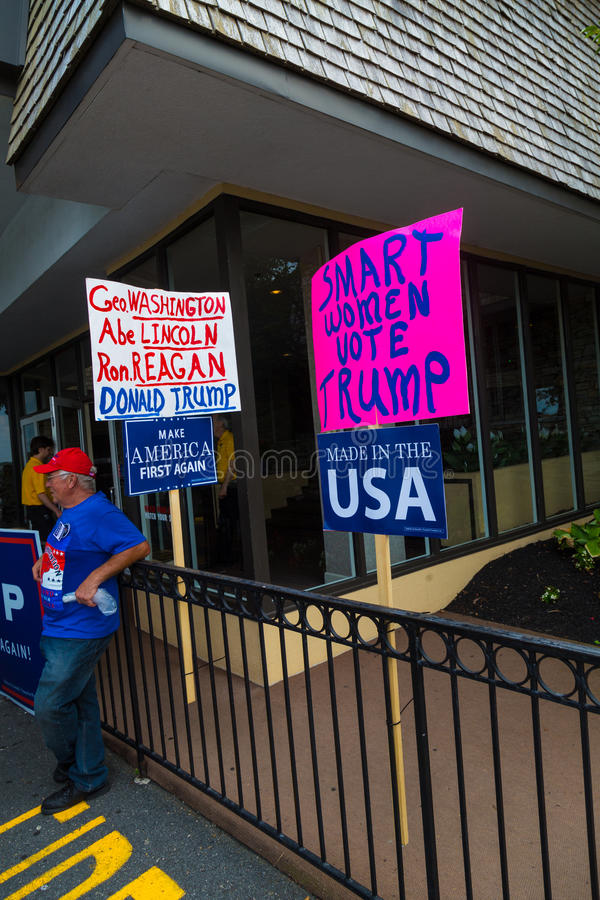Homemade Signs at Pence Rally. Lancaster, PA - August 9, 2016: Signs at a rally during GOP Vice Presidential candidate Gov. Mike Pence appearance in Lancaster stock image
