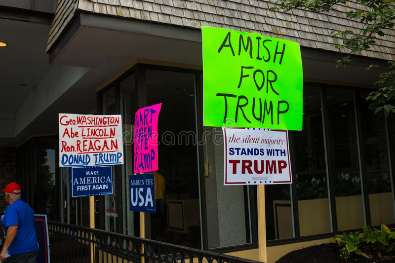 Homemade Signs at Trump Political Rally. Lancaster, PA - August 9, 2016: Signs at a rally during GOP Vice Presidential candidate Gov. Mike Pence appearance in stock photography