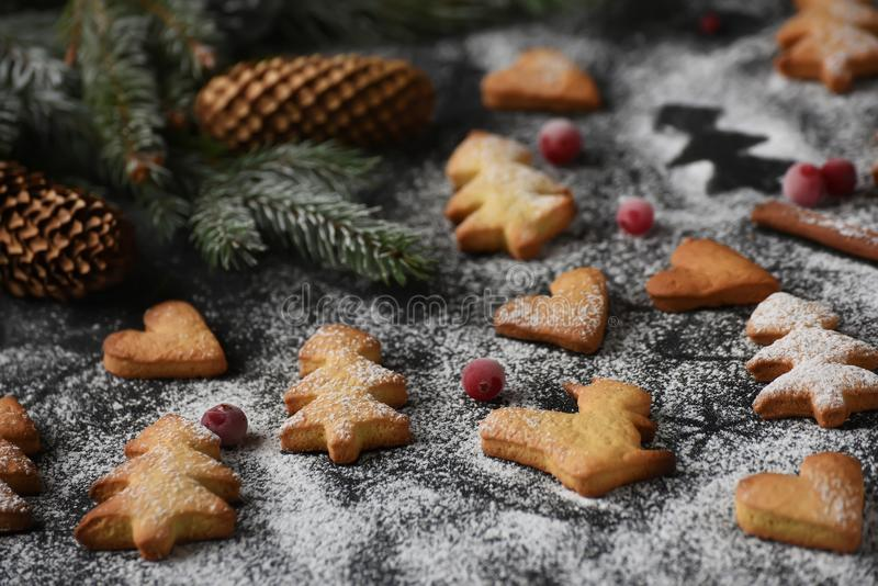 Homemade simple figurine cookies for the New Year and Christmas comfort. royalty free stock photography