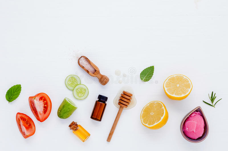 Homemade skin care and body scrubs with natural ingredients aloe royalty free stock images