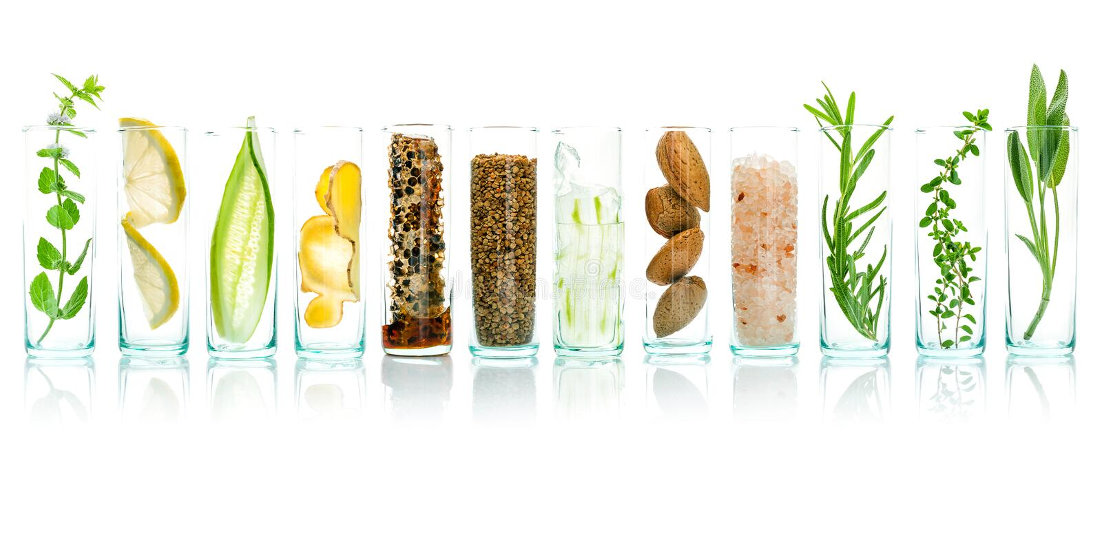 Homemade skin care with natural ingredients aloe vera, lemon, cu. Cumber, himalayan salt, peppermint, rosemary, almonds, cucumber, ginger and honey pollen stock image