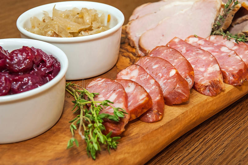 Homemade smoked meat royalty free stock photography