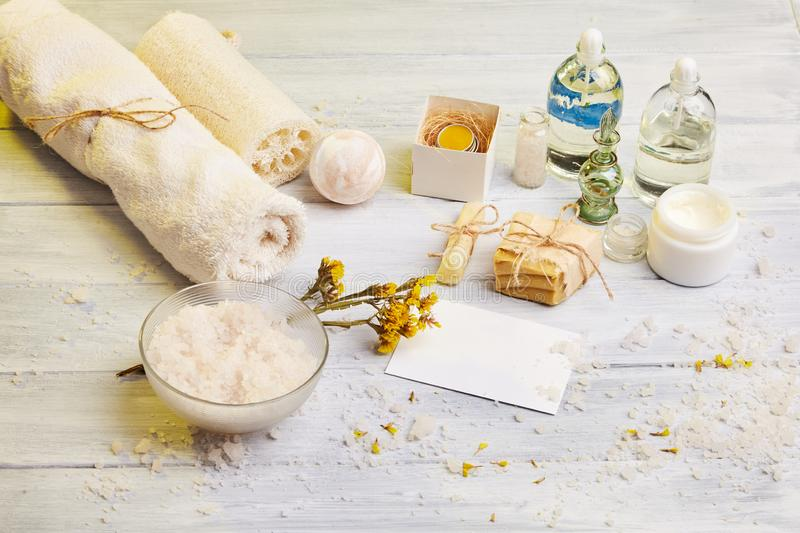 Homemade soap, dry lavender flowers and essential oil. royalty free stock images