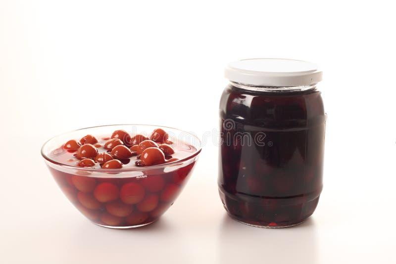 Homemade sour cherry compote stock photos