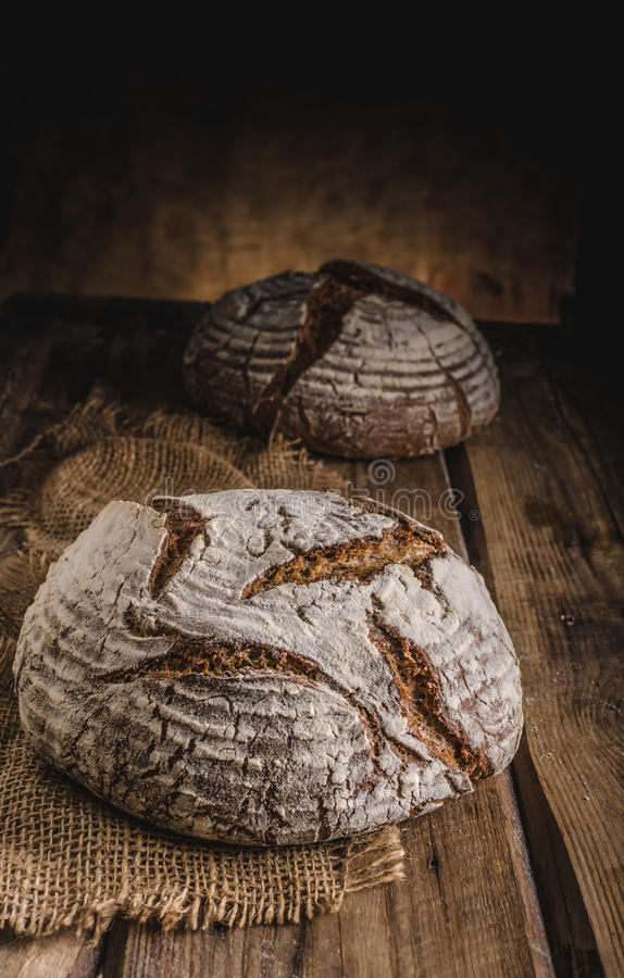 Homemade sourdough bread. Freshly baked, rustic bread stock photography
