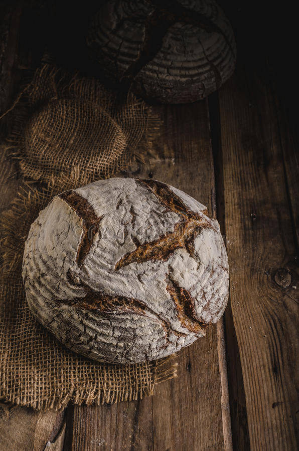 Homemade sourdough bread. Freshly baked, rustic bread royalty free stock images