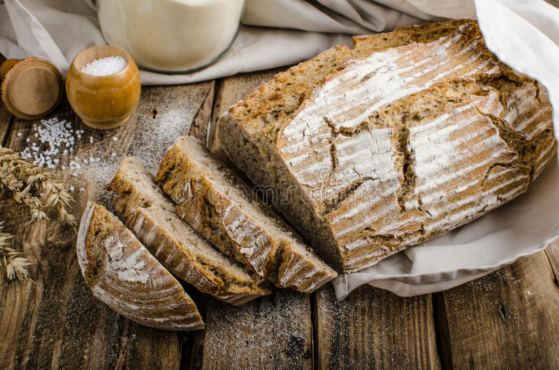 Homemade sourdough bread. Very healthy, very simple to make, delicious, place for your advertisment royalty free stock images