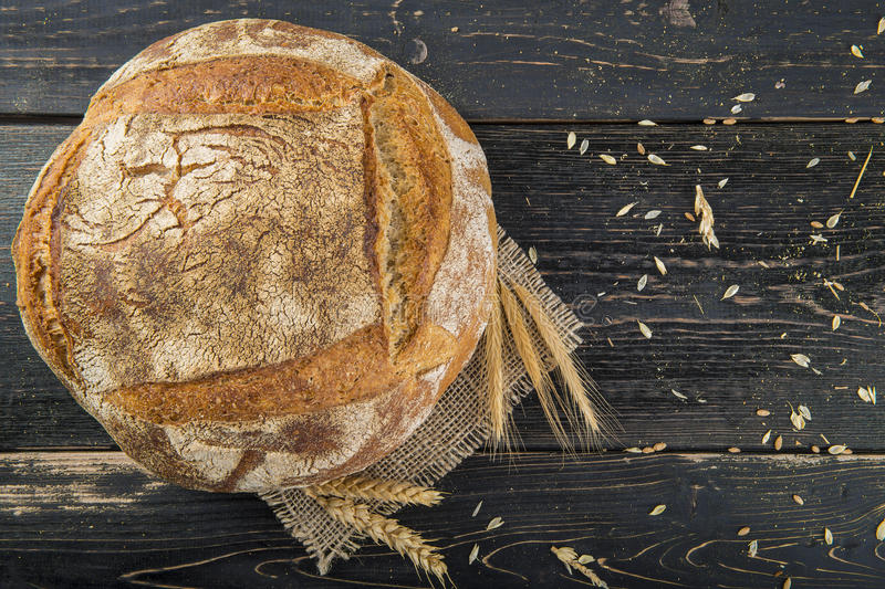 Homemade sourdouhg bread loaf royalty free stock photo