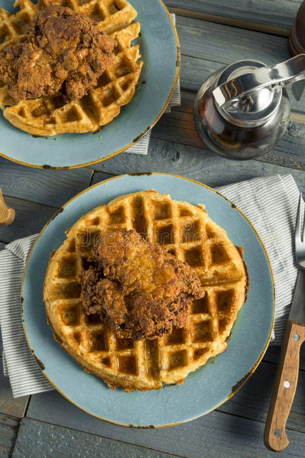 Homemade Southern Chicken and Waffles. With Syrup stock photos