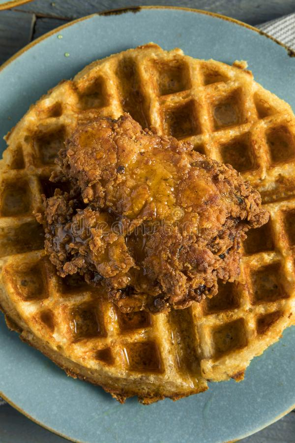 Homemade Southern Chicken and Waffles. With Syrup stock photo