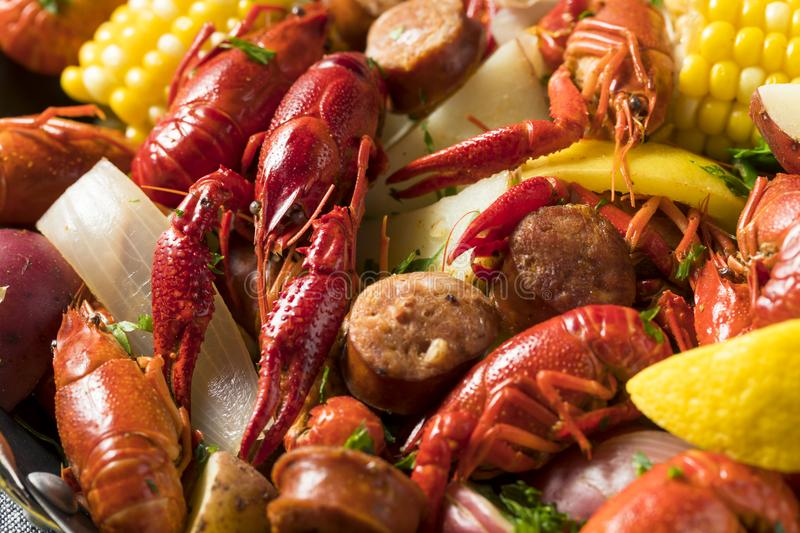 Homemade Southern Crawfish Boil. With Potatoes Sausage and Corn royalty free stock photography