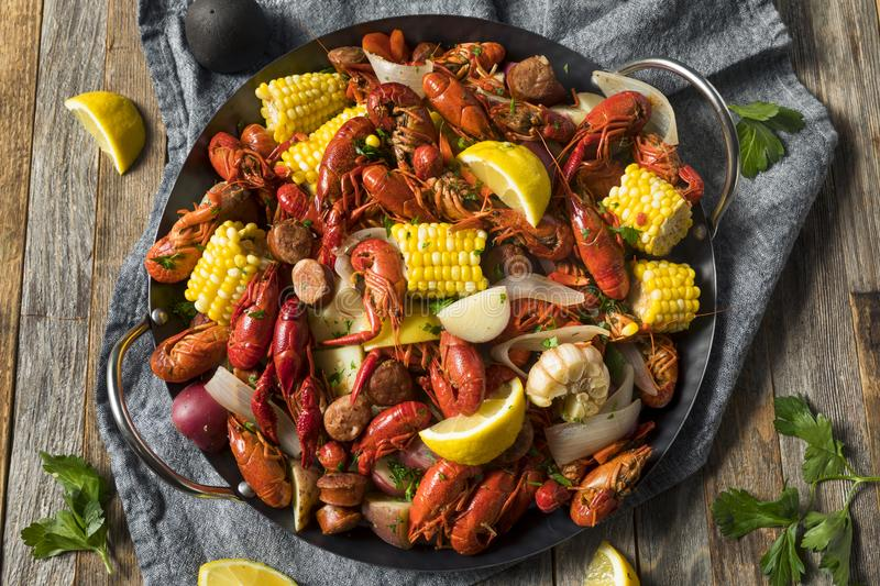Homemade Southern Crawfish Boil. With Potatoes Sausage and Corn royalty free stock image