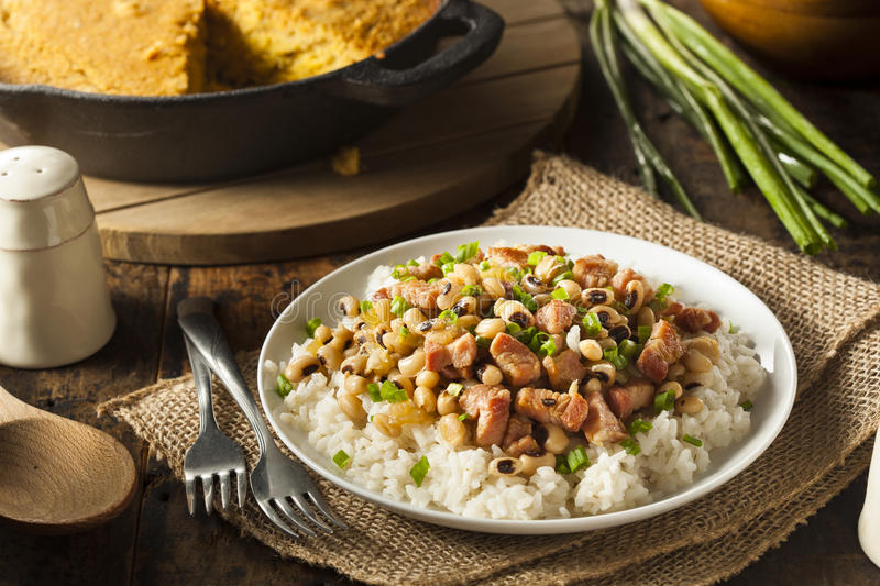 Homemade Southern Hoppin John. With Rice and Pork stock photography