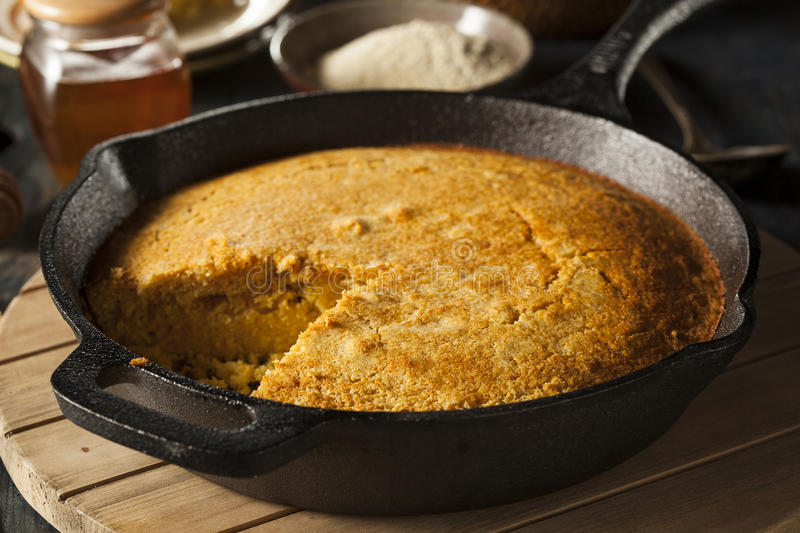 Homemade Southern Style Cornbread. In a Skillet stock photography