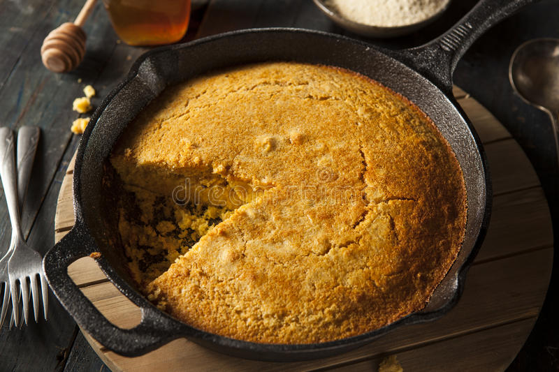 Homemade Southern Style Cornbread. In a Skillet stock photos