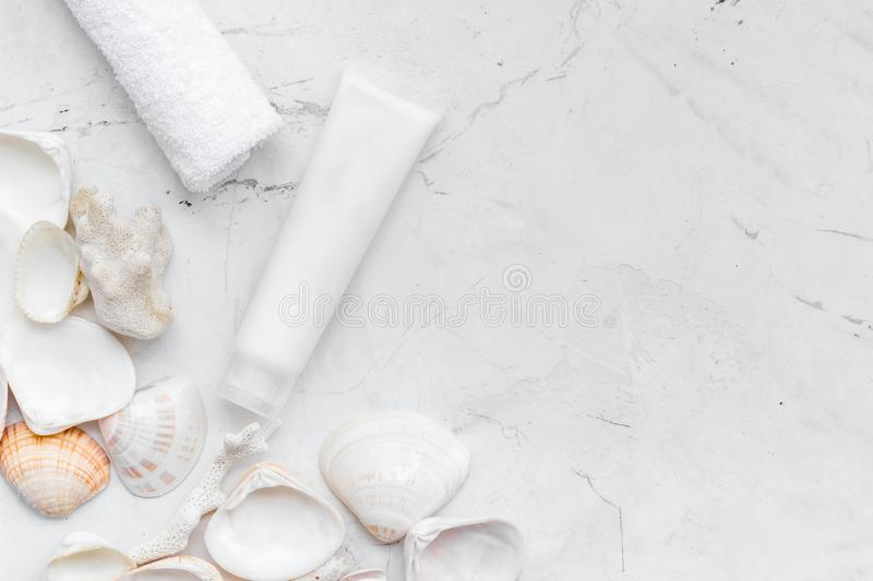 Organic Dead Sea cosmetic set with cream and lotion on marble background top view mock up royalty free stock image