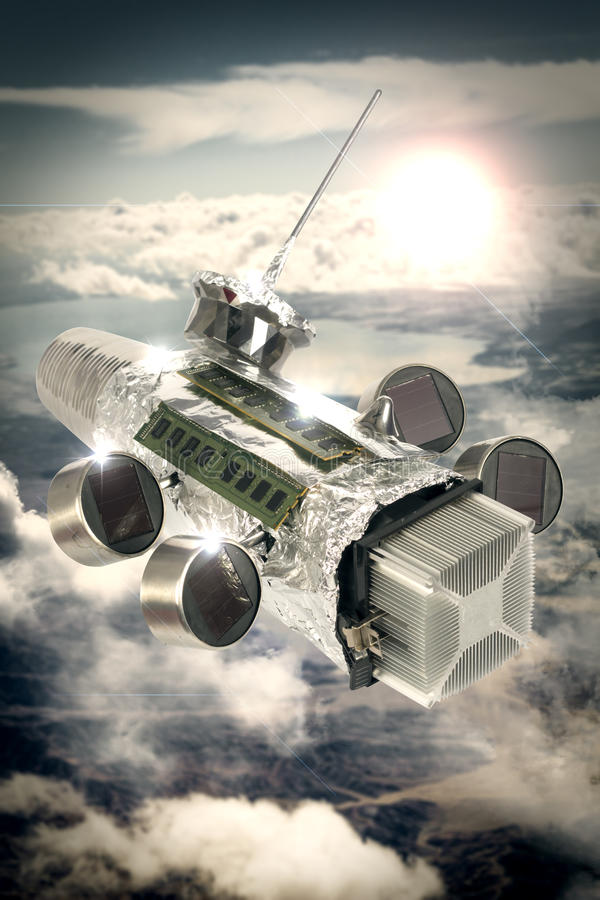Homemade Spaceship Satellite. Homemade solar powered spaceship satellite in orbit around earth stock image