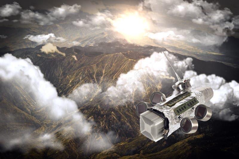 Homemade Spaceship Satellite. Homemade solar powered spaceship satellite in orbit around earth stock photos