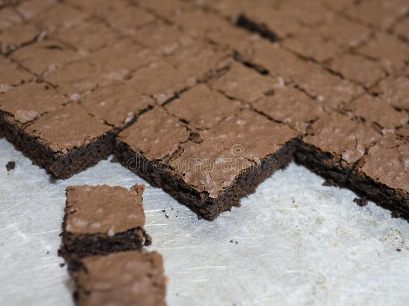 Homemade square brownies royalty free stock photography