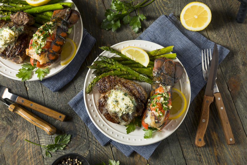 Homemade Steak and Lobster Surf n Turf royalty free stock images