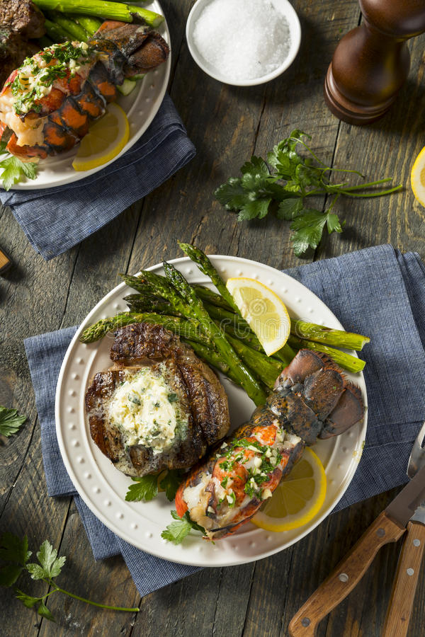 Homemade Steak and Lobster Surf n Turf royalty free stock photos