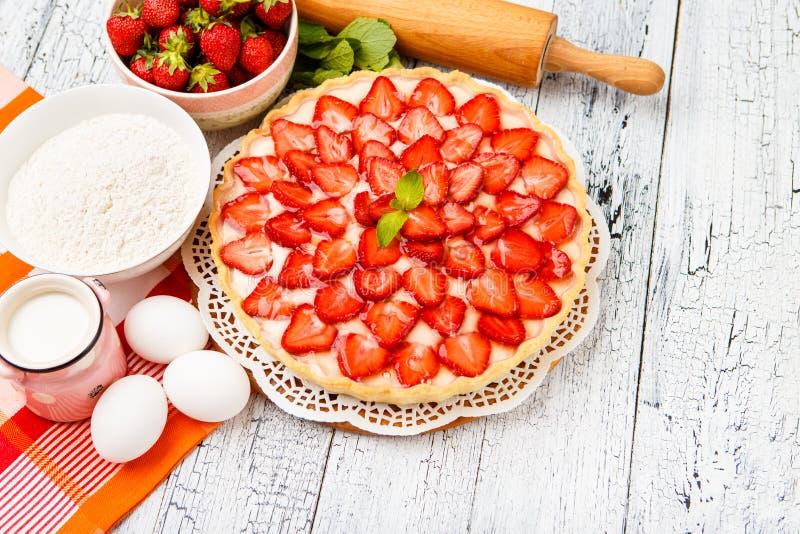 Homemade Strawberry cake royalty free stock photo