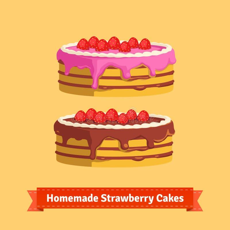 Homemade strawberry cakes. Flat style illustration. EPS 10 vector stock illustration