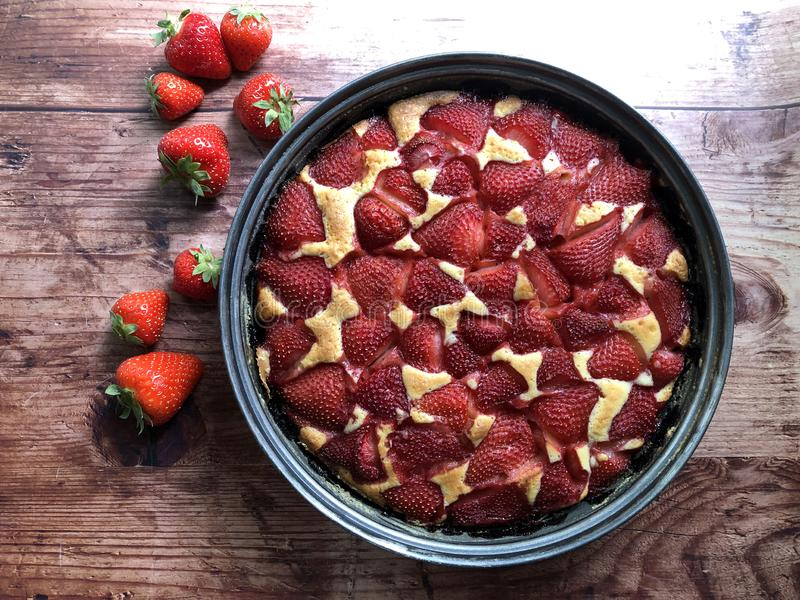 Homemade Strawberry pie fresh from the oven royalty free stock photo