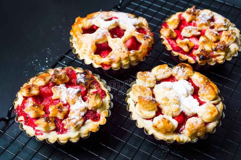 Strawberry sweet pie, pastry dessert stock photo