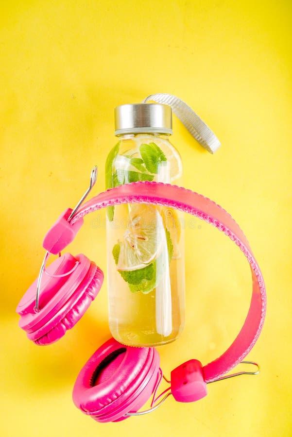 Homemade summer lemonade in bottle royalty free stock photography