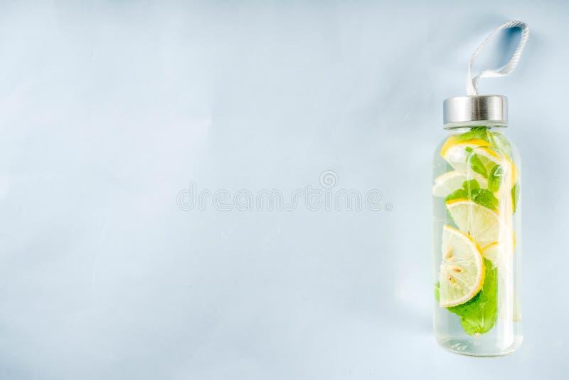 Homemade summer lemonade in bottle royalty free stock photo