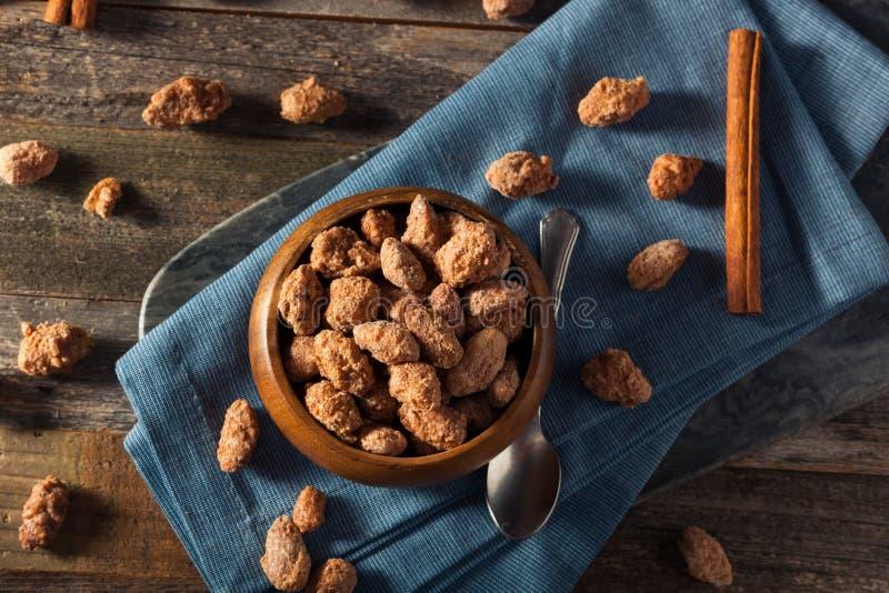 Homemade Sweet Cinnamon Coated Almonds royalty free stock photos