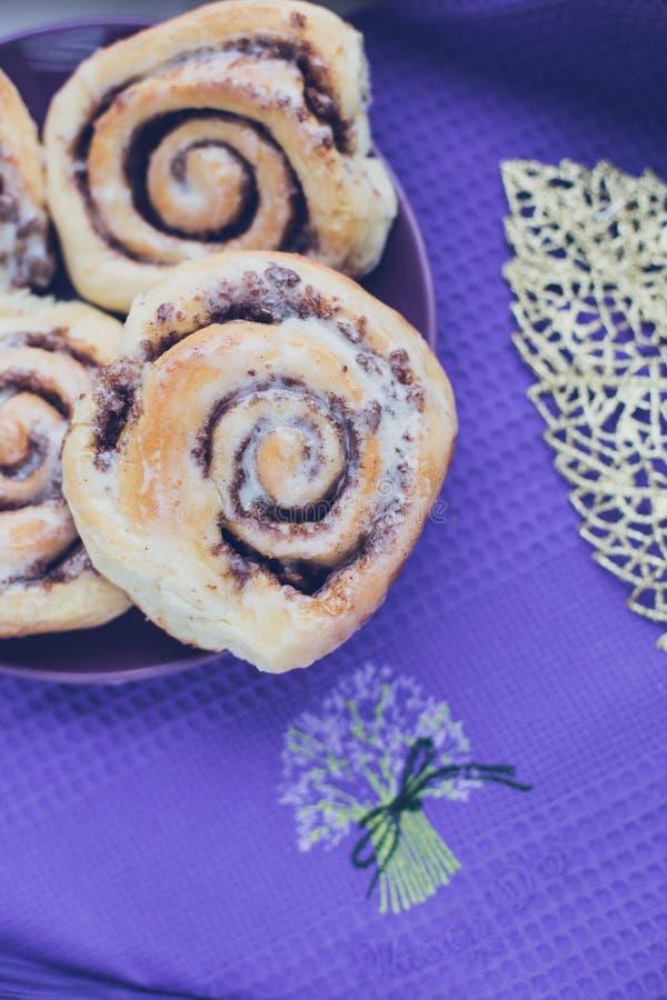 Homemade sweet fresh brioche cinnabons stock images