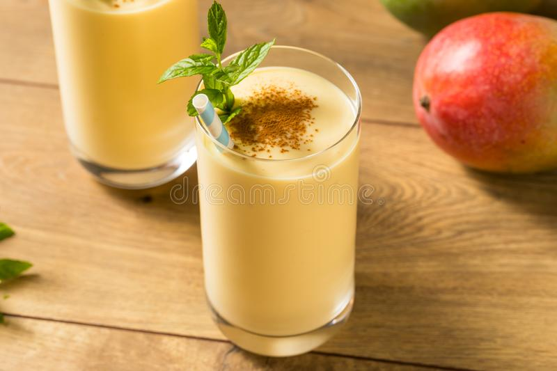 Homemade Sweet Indian Mango Lassi royalty free stock photos