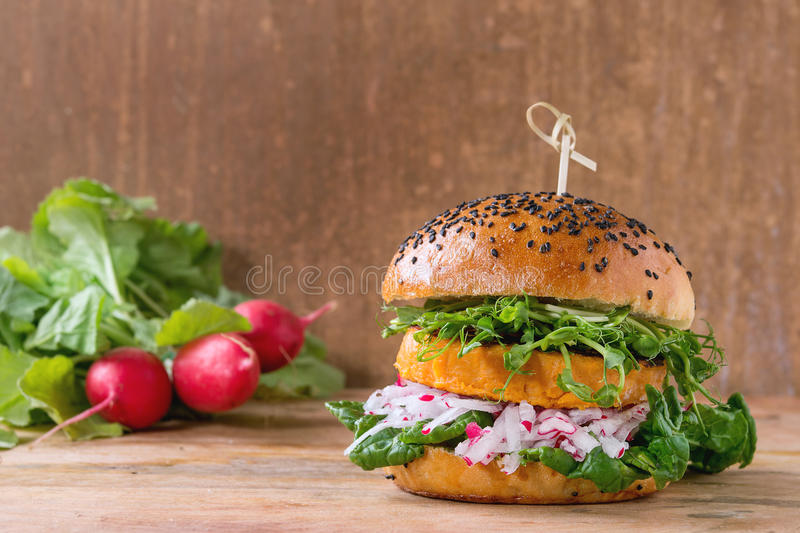 Homemade sweet potato burger royalty free stock photography