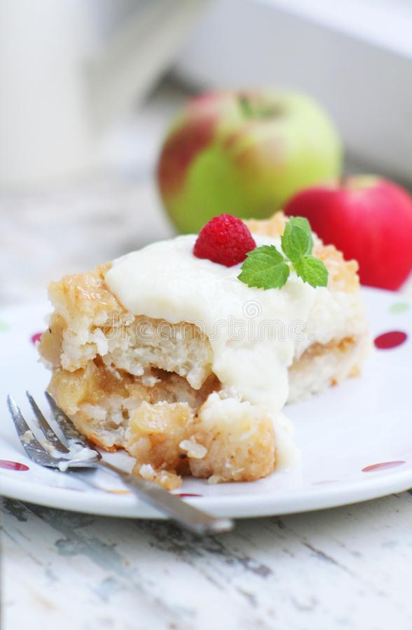 Homemade Sweet rice casserole with cream royalty free stock photo