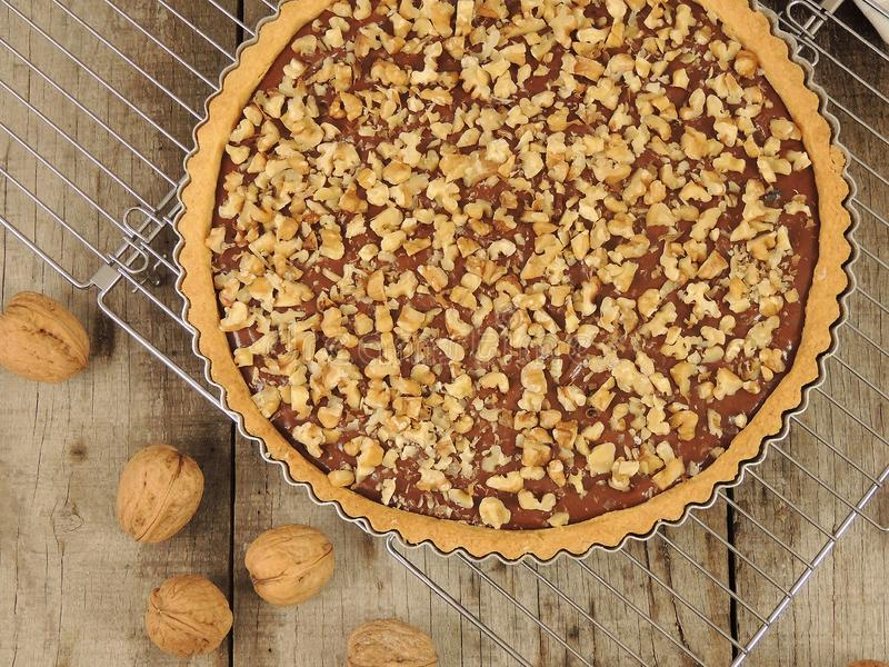 Homemade sweet shortbread tart with chocolate and walnuts on cooling rack royalty free stock photo