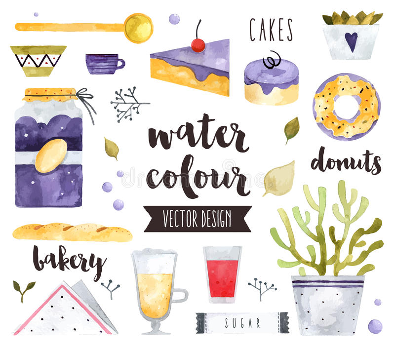 Homemade Sweets Watercolor Vector Objects royalty free illustration