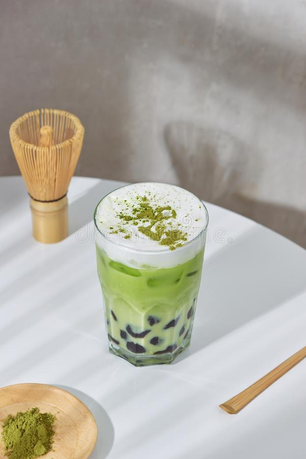 Homemade Tapioca pearl boboa green tea Japanese matcha latte - creamy and yummy with pretty look royalty free stock image