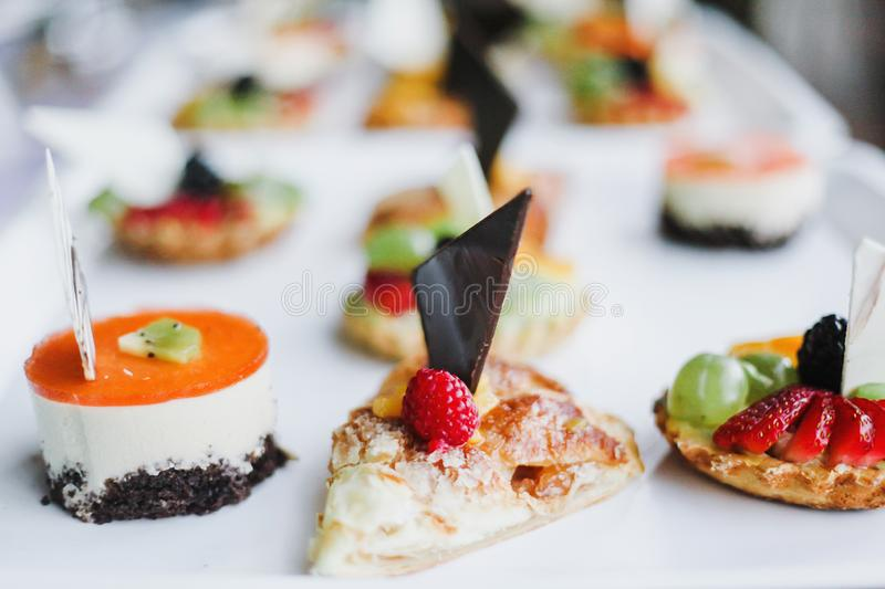 Homemade tarts dessert, assorted desserts with fruits royalty free stock image
