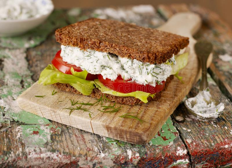Homemade sandwich closeup royalty free stock photography
