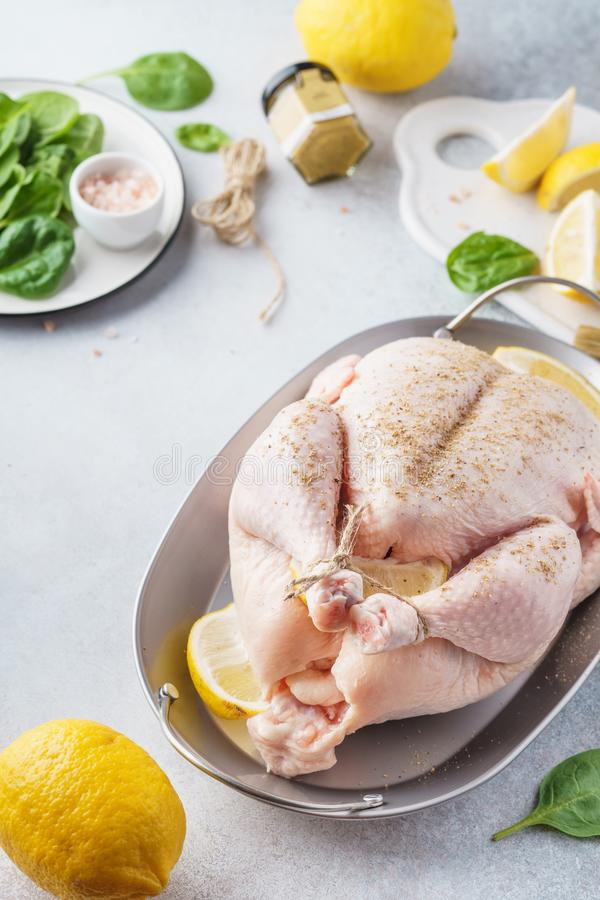 Homemade Thanksgiving day stuffed turkey or chicken cooking royalty free stock photo