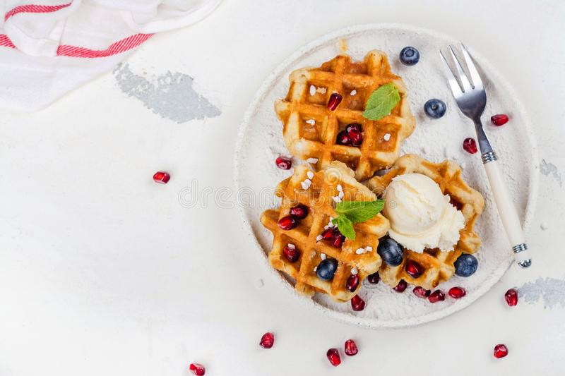 Homemade thick belgium waffles stock photography