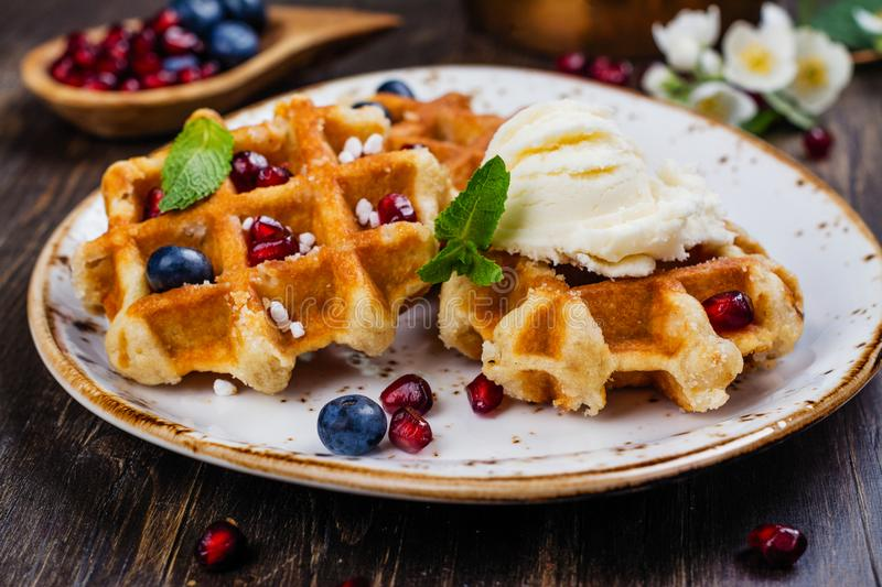 Homemade thick belgium waffles royalty free stock photos