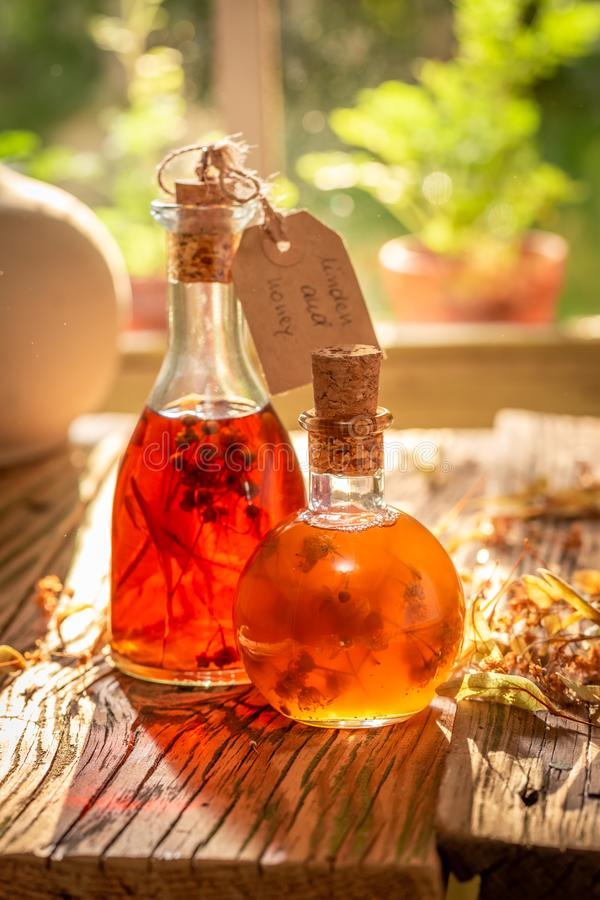 Homemade tincture as the perfect cold remedy stock images