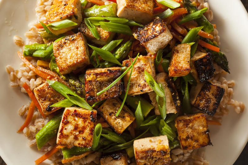 Homemade Tofu Stir Fry. With Vegetables and Rice stock photos