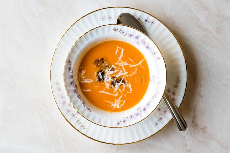 Homemade Tomato Soup with Croutons and Cheese. royalty free stock photo