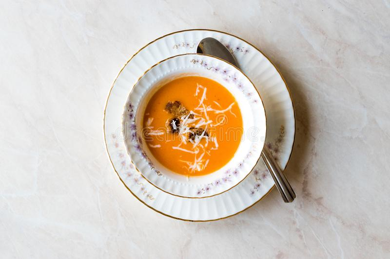 Homemade Tomato Soup with Croutons and Cheese. stock photos