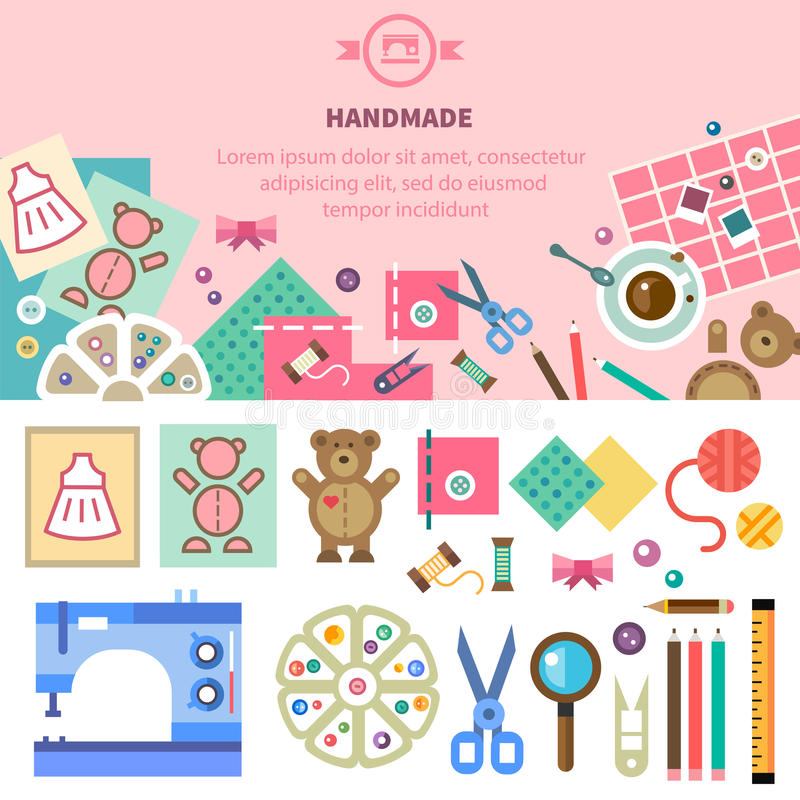 Homemade toys and clothes. Craft. Homemade toys and clothes, tools and materials for handmade, sewing, art. Workplace in top view. Vector flat illustration vector illustration